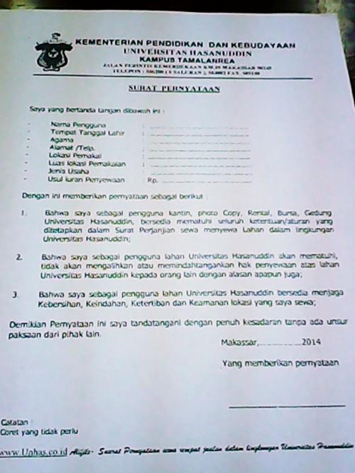 Surat pernyataan yang dikeluarkan oleh Rektorat UNHAS