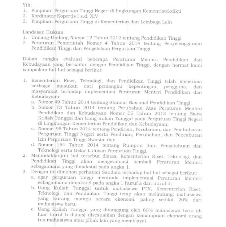 Surat Edaran Moratorium UKT